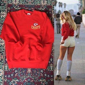 80s Chiefs Crewneck Red Oversized Sweatshirt
